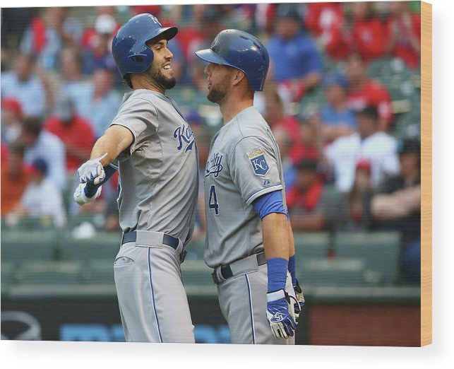 Second Inning Wood Print featuring the photograph Eric Hosmer and Alex Gordon by Ronald Martinez