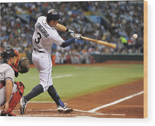 Second Inning Wood Print featuring the photograph Evan Longoria by Al Messerschmidt