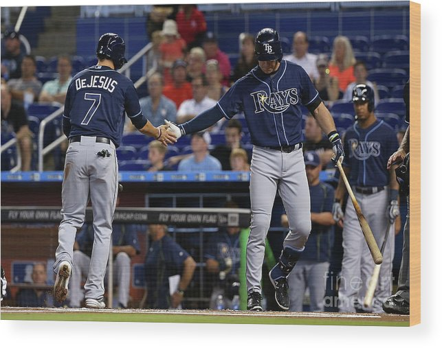 American League Baseball Wood Print featuring the photograph Evan Longoria and David Dejesus by Mike Ehrmann