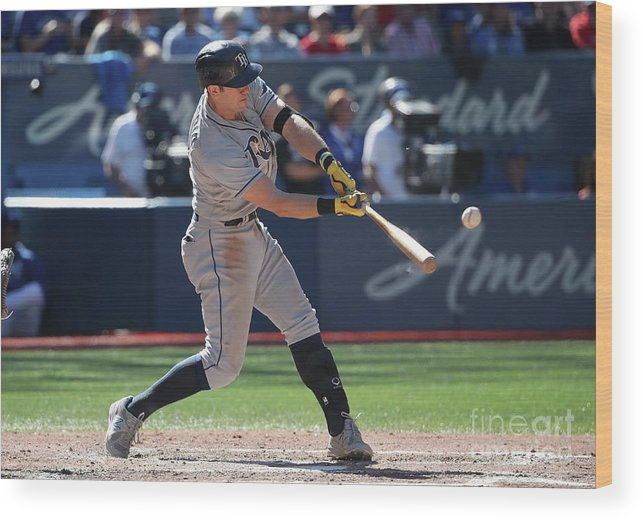 Ninth Inning Wood Print featuring the photograph Evan Longoria by Tom Szczerbowski