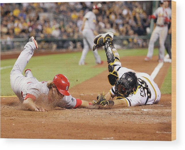 St. Louis Cardinals Wood Print featuring the photograph Francisco Cervelli and Mark Reynolds by Justin K. Aller