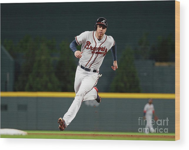 Atlanta Wood Print featuring the photograph Freddie Freeman and Nick Markakis by Kevin C. Cox