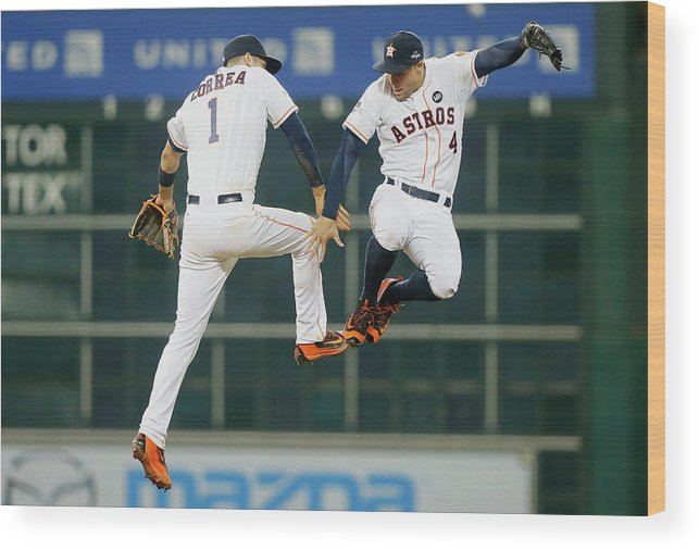 People Wood Print featuring the photograph George Springer and Carlos Correa by Bob Levey
