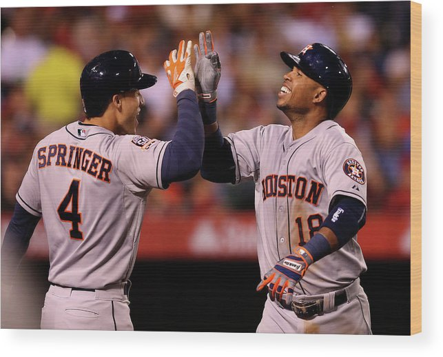 People Wood Print featuring the photograph George Springer and Luis Valbuena by Stephen Dunn