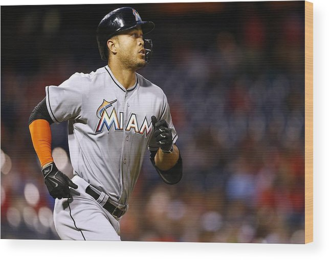 Three Quarter Length Wood Print featuring the photograph Giancarlo Stanton by Rich Schultz