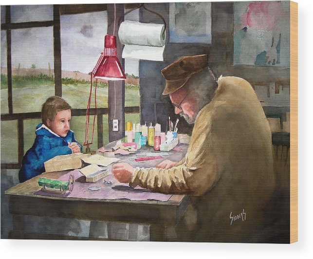 Man Wood Print featuring the painting Grandpa's Workbench by Sam Sidders