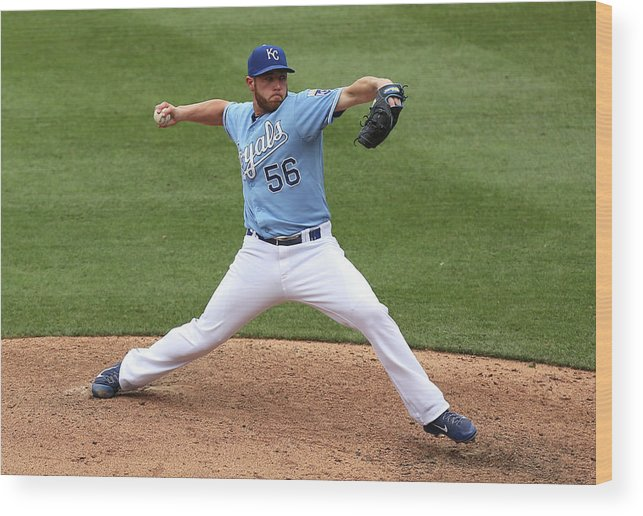 Ninth Inning Wood Print featuring the photograph Greg Holland by Ed Zurga