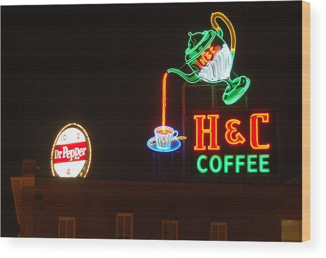H C Coffee Wood Print featuring the photograph H and C Coffee Sign Roanoke Virginia by Suzanne Gaff
