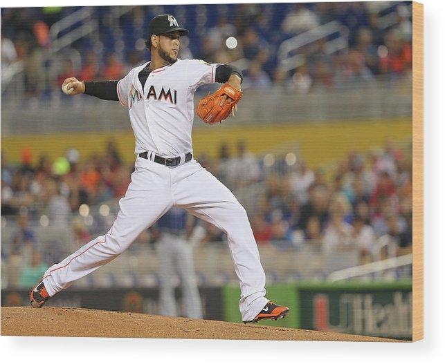 American League Baseball Wood Print featuring the photograph Henderson Alvarez by Mike Ehrmann