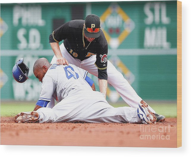Second Inning Wood Print featuring the photograph Howie Kendrick and Neil Walker by Jared Wickerham