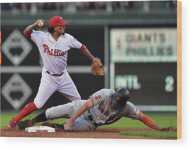 Double Play Wood Print featuring the photograph Hunter Pence and Freddy Galvis by Drew Hallowell