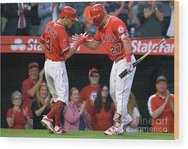 People Wood Print featuring the photograph Ian Kinsler and Mike Trout by John Mccoy