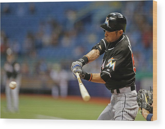 Three Quarter Length Wood Print featuring the photograph Ichiro Suzuki and Tim Beckham by Brian Blanco