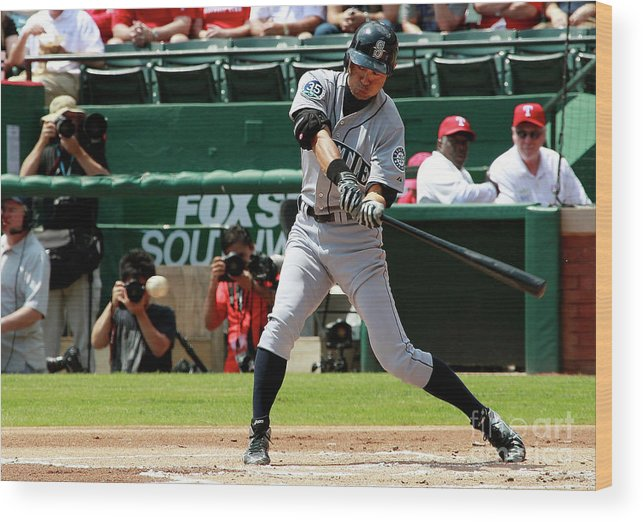 American League Baseball Wood Print featuring the photograph Ichiro Suzuki by Rick Yeatts