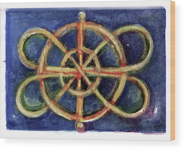 Miniature Wood Print featuring the painting Infinity Loops by Elle Smith Fagan