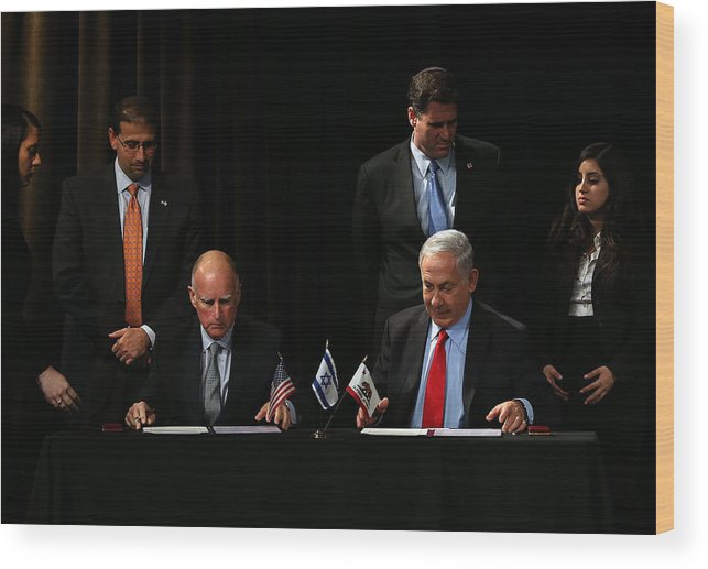 Research Wood Print featuring the photograph Israeli Prime Minister Netanyahu Meets With California Gov. Jerry Brown In San Francisco by Justin Sullivan