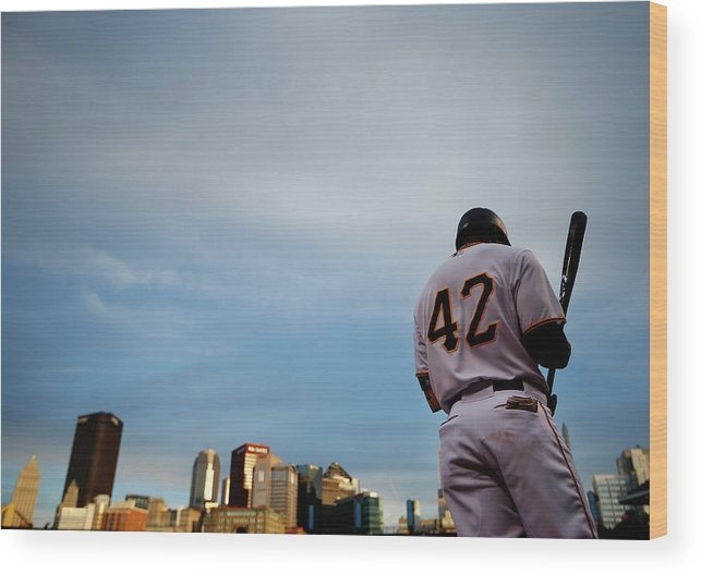 Second Inning Wood Print featuring the photograph Jackie Robinson by Jared Wickerham