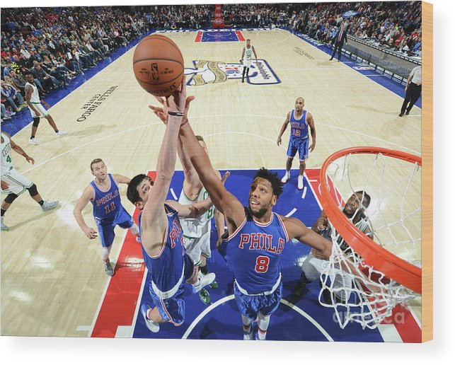 Nba Pro Basketball Wood Print featuring the photograph Jahlil Okafor and Ersan Ilyasova by Jesse D. Garrabrant