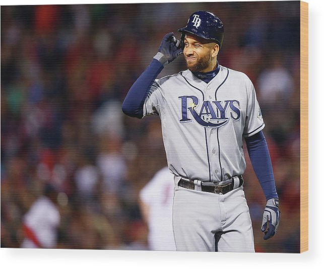 Double Play Wood Print featuring the photograph James Loney by Jared Wickerham