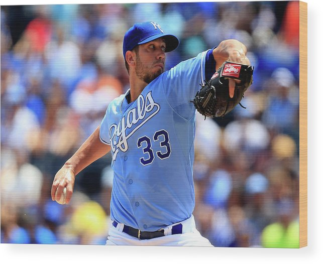 American League Baseball Wood Print featuring the photograph James Shields by Jamie Squire
