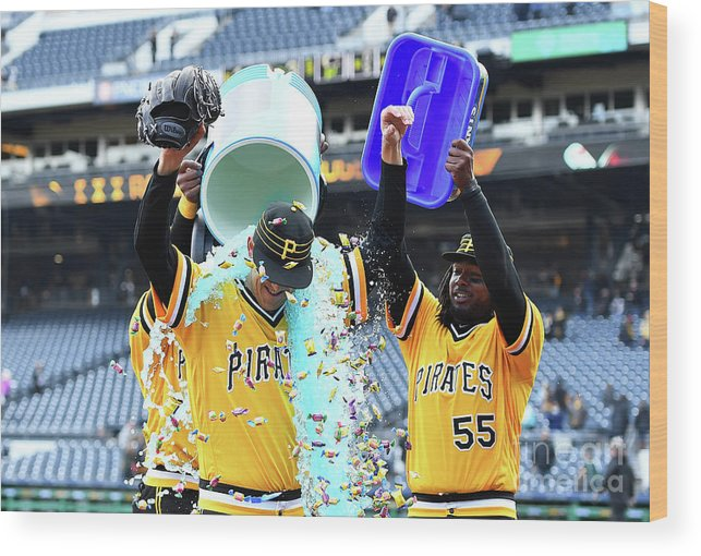 People Wood Print featuring the photograph Jameson Taillon and Starling Marte by Joe Sargent
