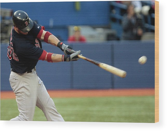 American League Baseball Wood Print featuring the photograph Jarrod Saltalamacchia by Abelimages