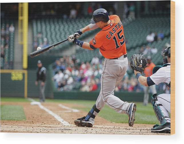 American League Baseball Wood Print featuring the photograph Jason Castro by Otto Greule Jr