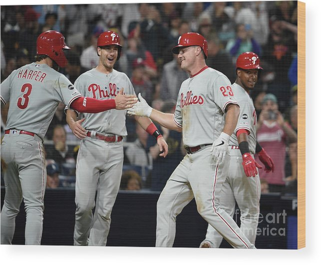 People Wood Print featuring the photograph Jean Segura, Bryce Harper, and Jay Bruce by Denis Poroy