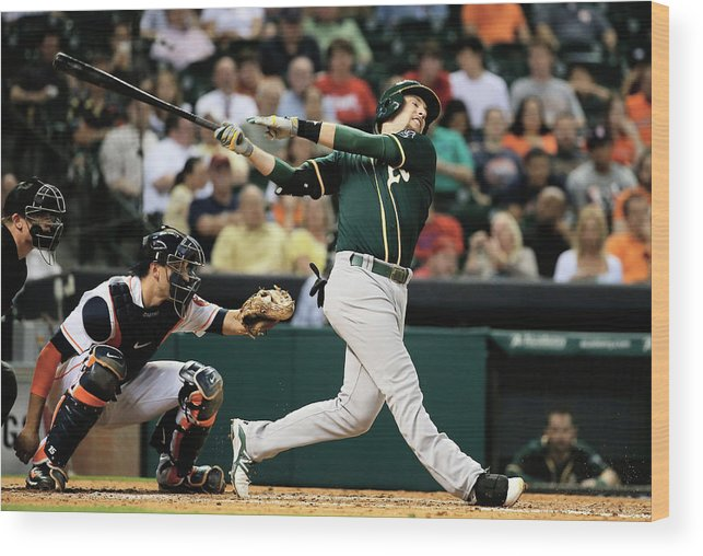 American League Baseball Wood Print featuring the photograph Jed Lowrie by Scott Halleran