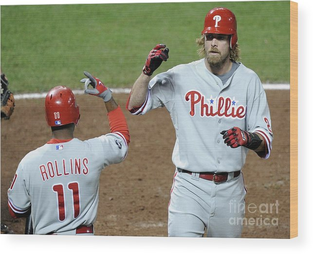 Playoffs Wood Print featuring the photograph Jimmy Rollins and Jayson Werth by Harry How