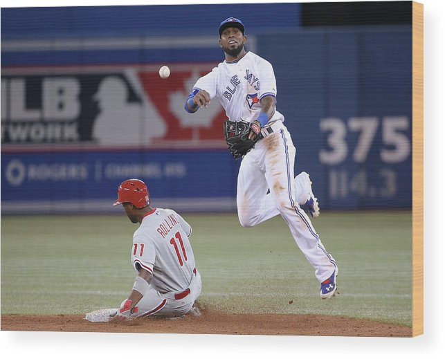 American League Baseball Wood Print featuring the photograph Jimmy Rollins and Jose Reyes by Tom Szczerbowski