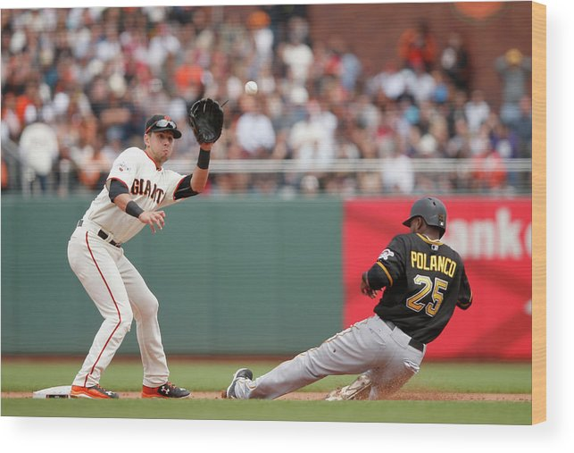 San Francisco Wood Print featuring the photograph Joe Panik and Gregory Polanco by Ezra Shaw