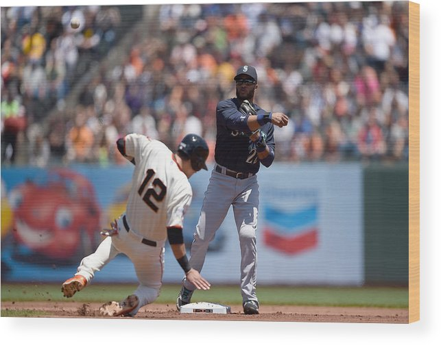 Double Play Wood Print featuring the photograph Joe Panik by Thearon W. Henderson