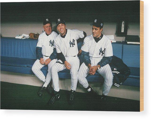 American League Baseball Wood Print featuring the photograph Joe Torre, Derek Jeter, and Don Zimmer by Rich Pilling