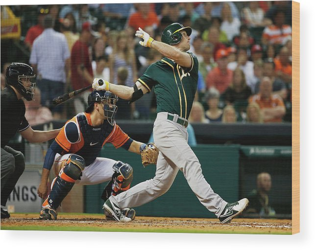 American League Baseball Wood Print featuring the photograph John Jaso by Scott Halleran