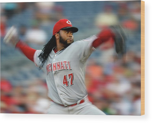 Three Quarter Length Wood Print featuring the photograph Johnny Cueto by Rob Carr