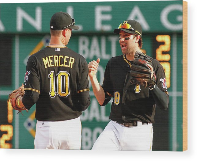 Professional Sport Wood Print featuring the photograph Jordy Mercer and Neil Walker by Justin K. Aller
