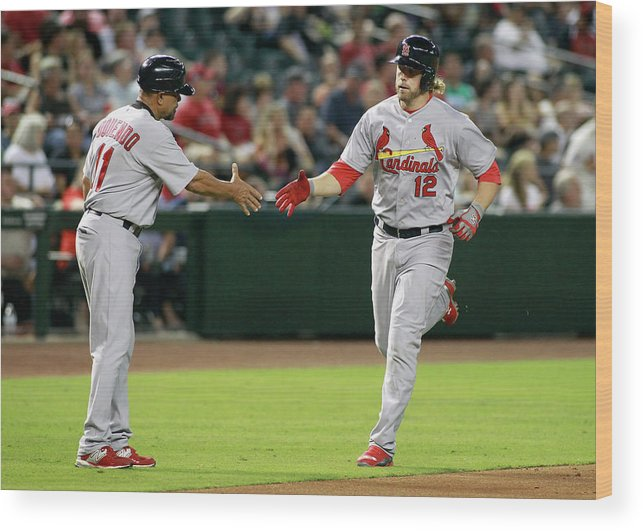 St. Louis Cardinals Wood Print featuring the photograph Jose Oquendo and Mark Reynolds by Ralph Freso