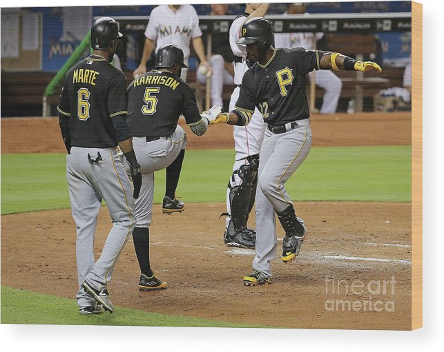 People Wood Print featuring the photograph Josh Harrison, Andrew Mccutchen, and Starling Marte by Mike Ehrmann