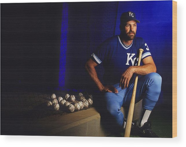 American League Baseball Wood Print featuring the photograph Kirk Gibson by Ronald C. Modra/sports Imagery
