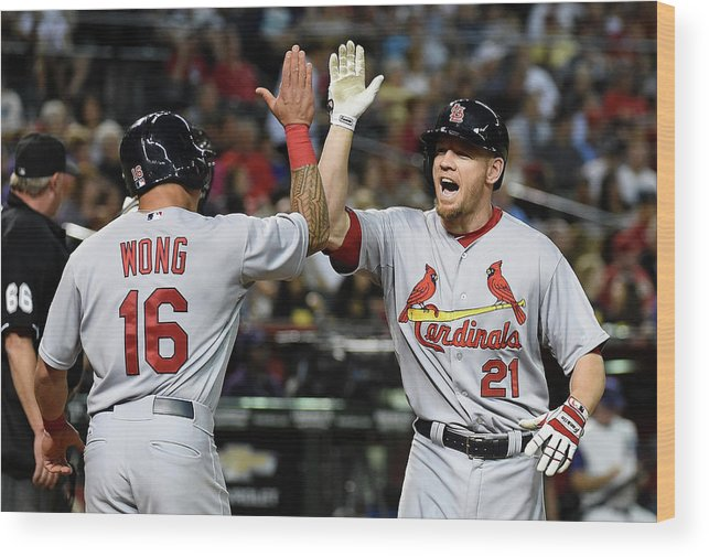 St. Louis Cardinals Wood Print featuring the photograph Kolten Wong and Brandon Moss by Norm Hall