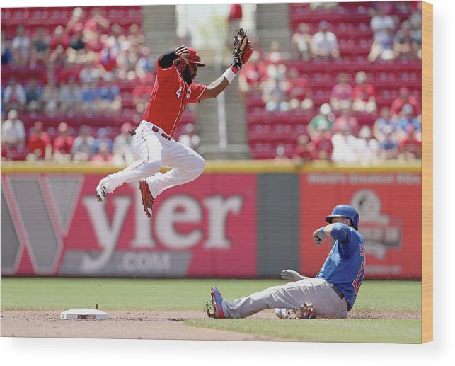 Great American Ball Park Wood Print featuring the photograph Kyle Schwarber and Brandon Phillips by Andy Lyons