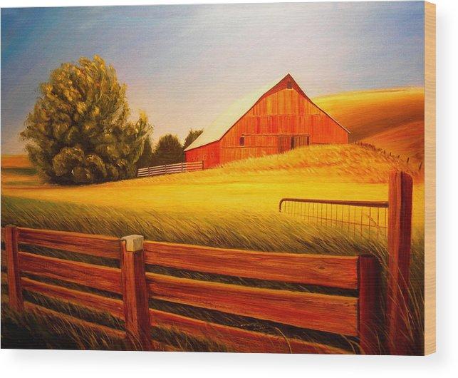 Wheat Wood Print featuring the painting La Crosse Barn by Leonard Heid