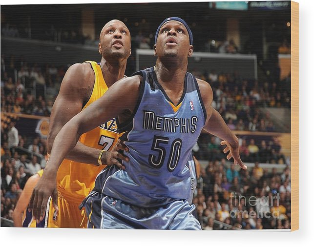 Nba Pro Basketball Wood Print featuring the photograph Lamar Odom and Zach Randolph by Andrew D. Bernstein