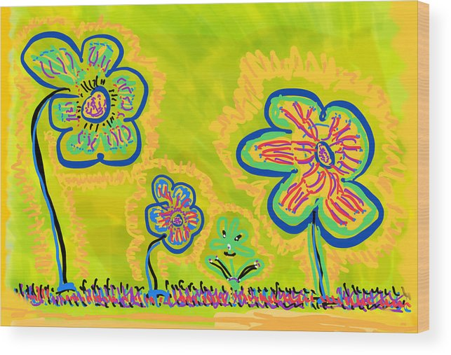 Spring Wood Print featuring the drawing Looking for Spring by Pam Roth O'Mara