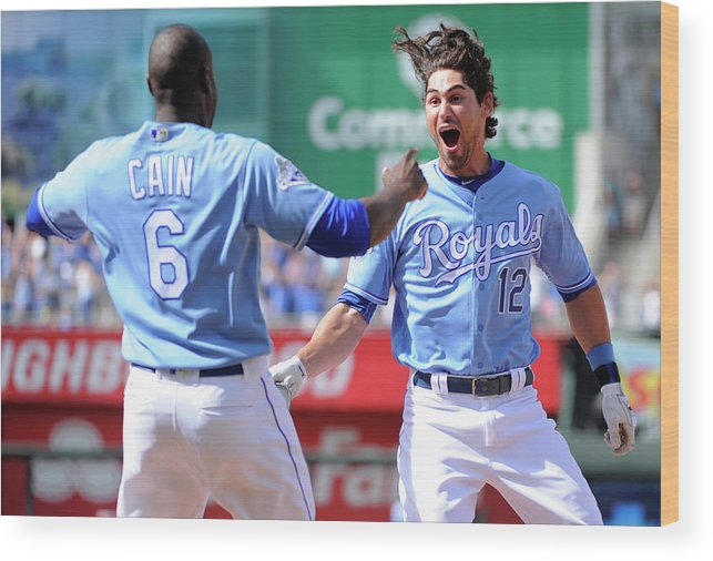 Three Quarter Length Wood Print featuring the photograph Lorenzo Cain by Ed Zurga