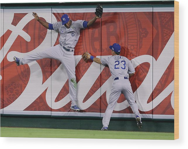 American League Baseball Wood Print featuring the photograph Lorenzo Cain by Jeff Gross