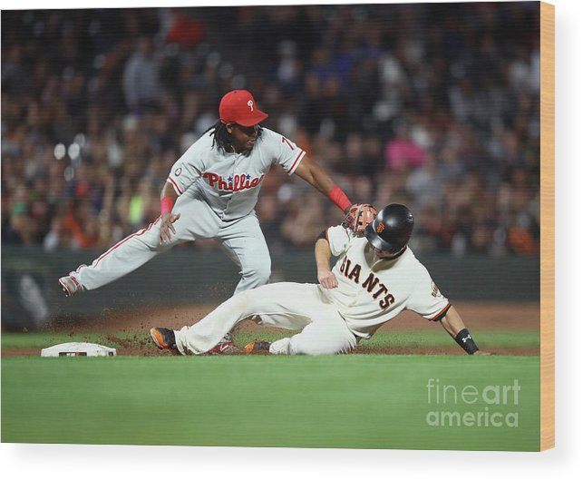 San Francisco Wood Print featuring the photograph Maikel Franco and Buster Posey by Ezra Shaw