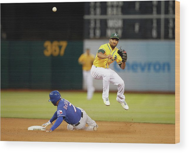 Double Play Wood Print featuring the photograph Marcus Semien and Shin-soo Choo by Ezra Shaw