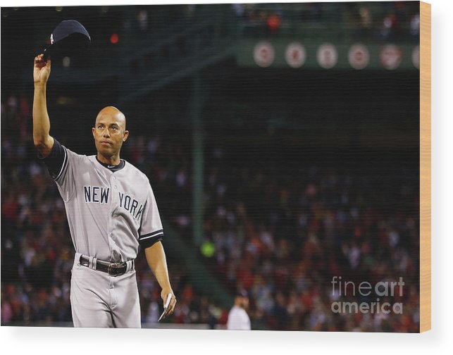 Crowd Wood Print featuring the photograph Mariano Rivera by Jared Wickerham